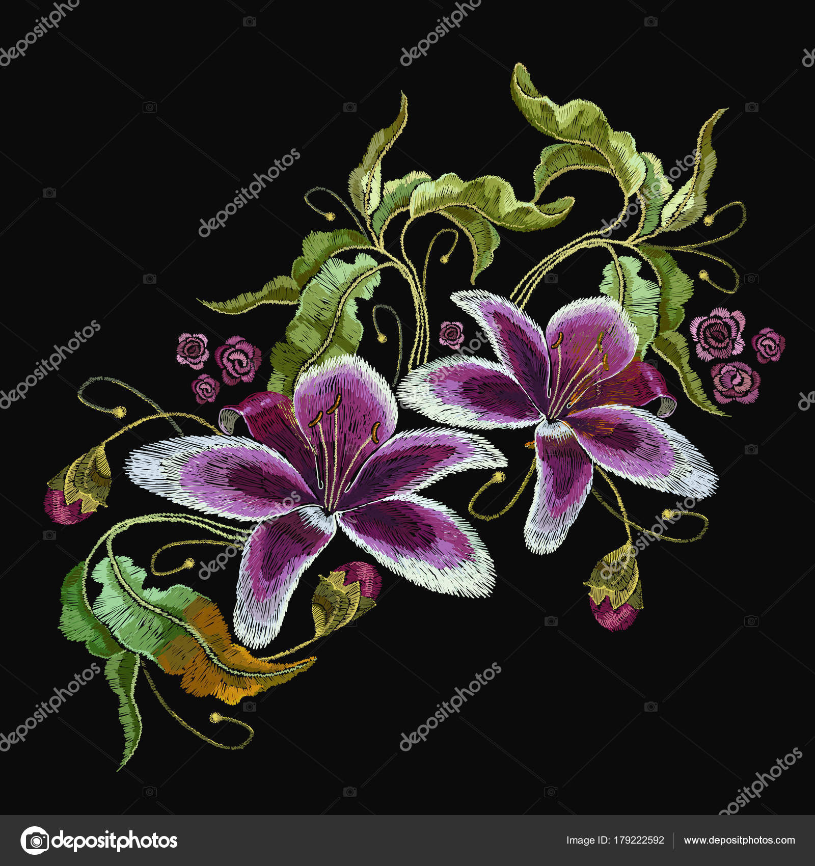 Embroidery tiger lily flowers orchids stock vector matriyoshka embroidery tiger lily flowers orchids stock vector izmirmasajfo