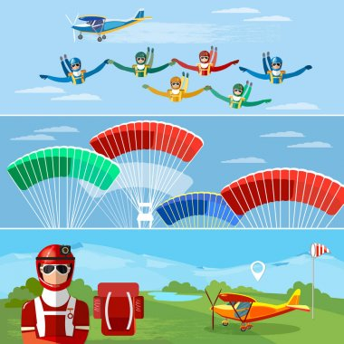 Skydiver jumps from an airplane vector. Skydiving teamwork banner extreme sport