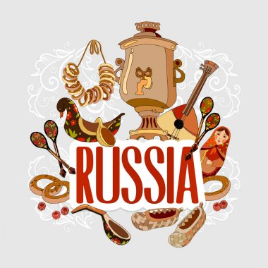 Travel to Russia. Traditions and culture,  Welcome to Russia. Collection of symbolic elements Russian. Template travel background
