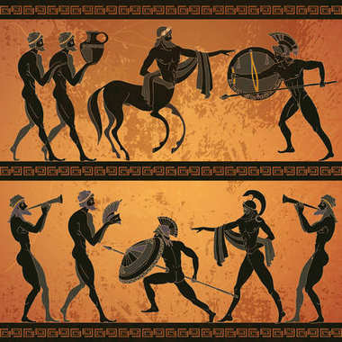 Ancient Greece scene banner. Black figure pottery. Ancient Greek