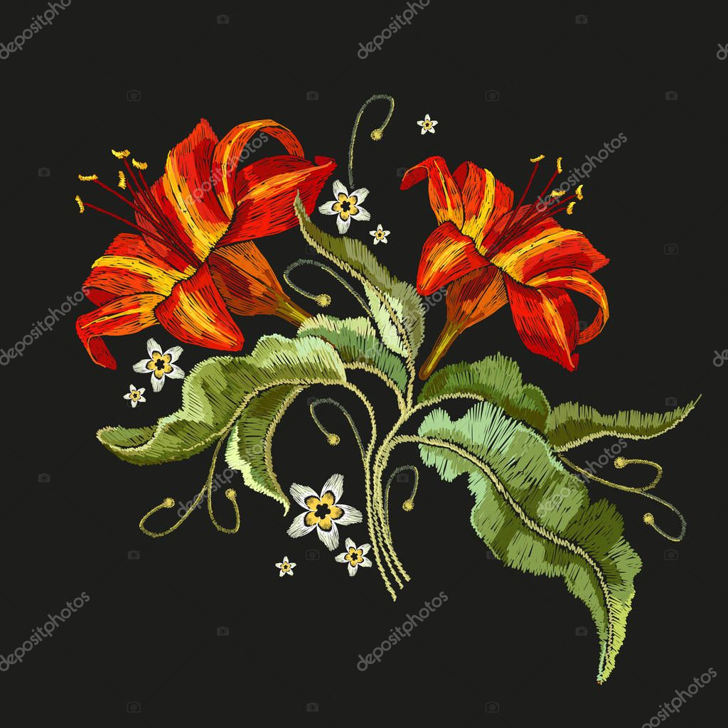 Embroidery vintage flowers lily. Classical embroidery lilies