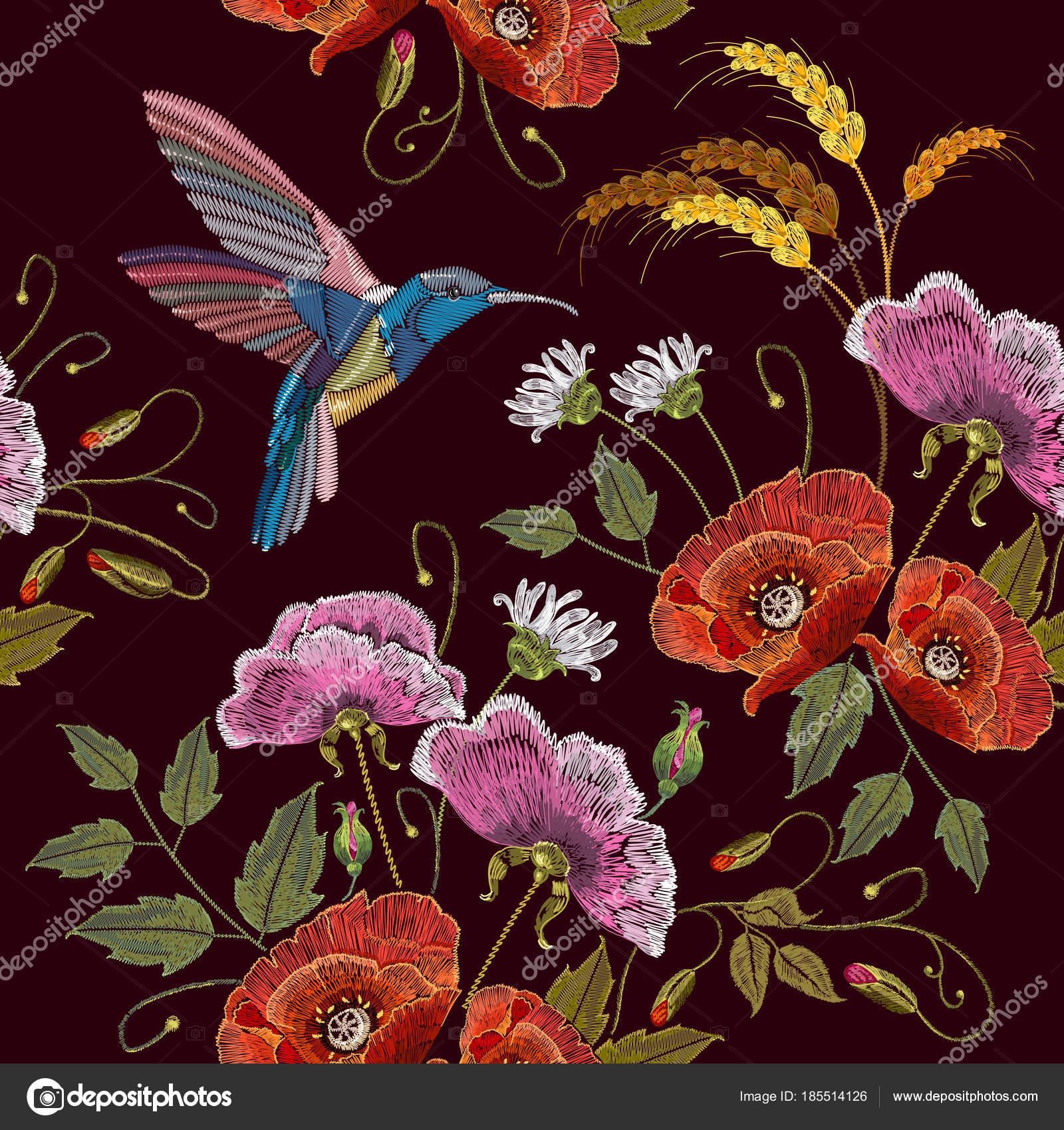 Colibríes de bordado y flores, patrones sin fisuras de amapolas ...