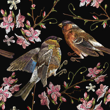 Embroidery birds and blossoming cherry seamless pattern. Spring fashion pattern, template for design of clothes, t-shirt design. Classical embroidery bullfinch and titmouse on branch blossoming sakura