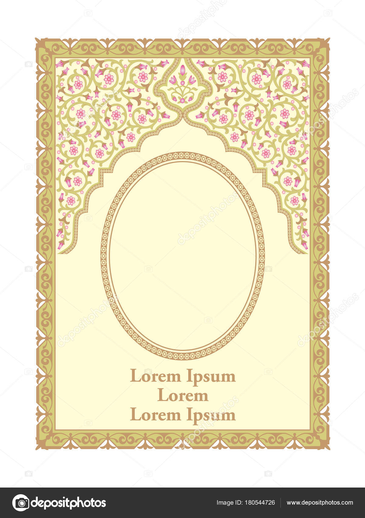 Islamic frame and border in floral ornament stock vector border and frame islamic floral ornament for prayer book cover vector by andipanggeleng altavistaventures Images