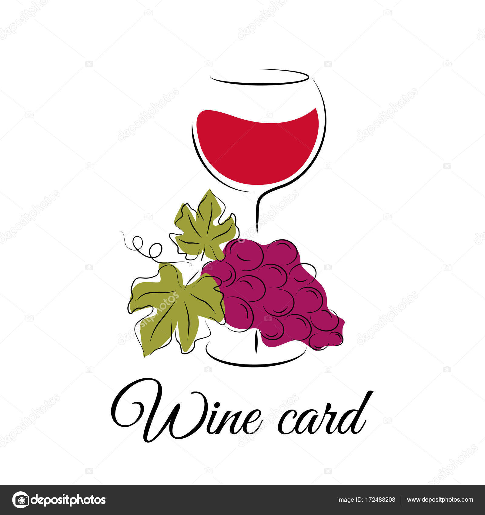 Wine Glass With Grape Hand Drawn Wine Concept For Winery Products