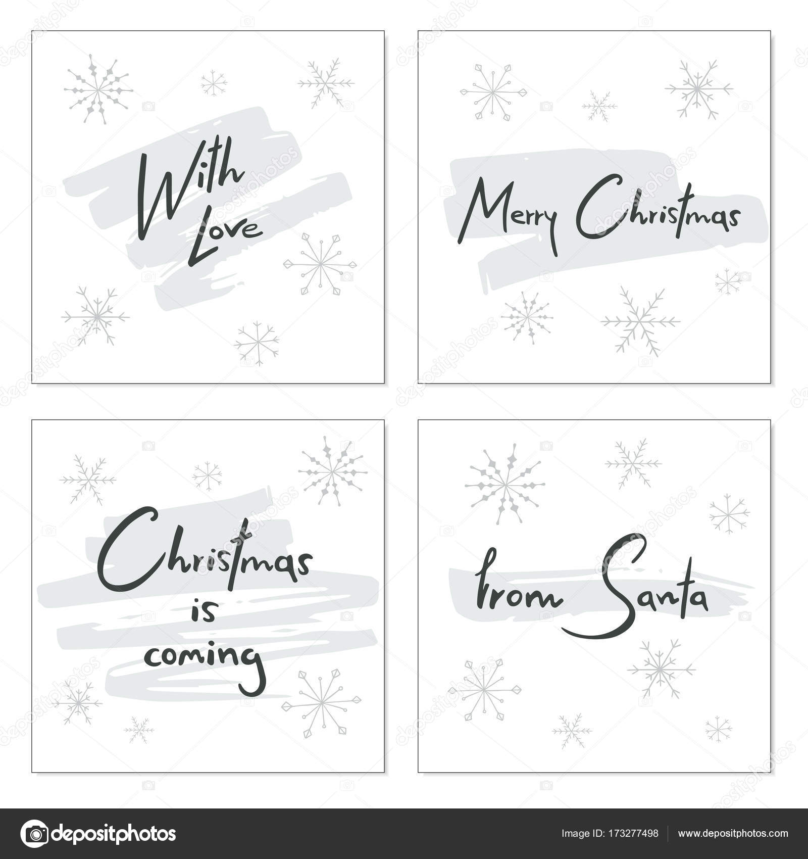 set of creative christmas cards with hand drawn lettering christmas