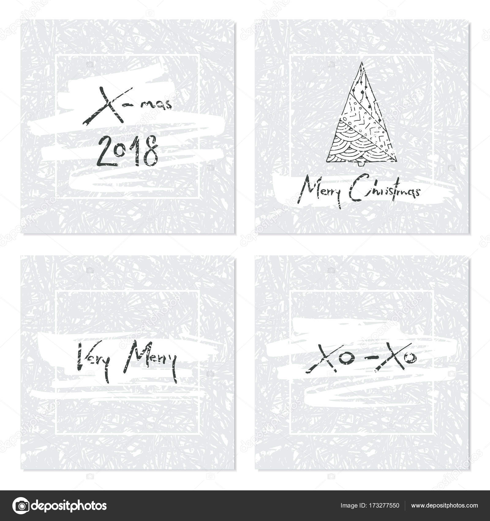 Set of creative Christmas cards with frozen texture, Christmas tree ...