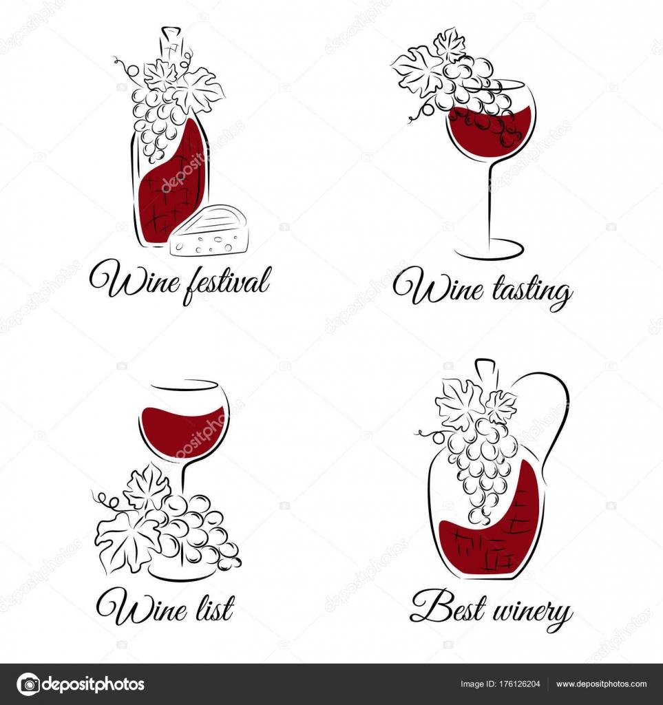 Vinne Lazne Rucne Kreslenou Vektorove Sada Lze Pouzit Pro Vinny