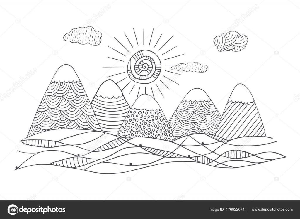 Montañas Con Nubes Sol Lindo Vector Paisaje Blanco Negro Mano ...