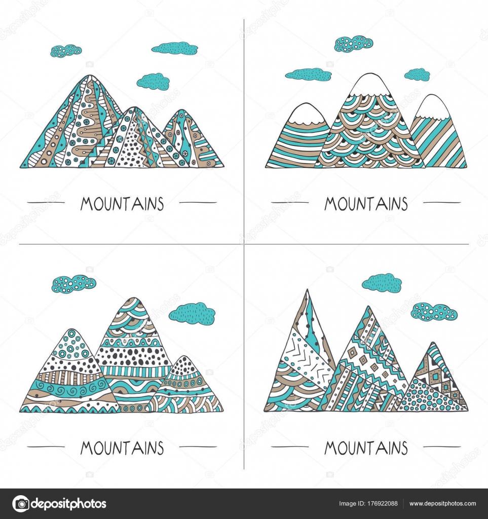 Conjunto Montañas Estilo Doodle Dibujado Mano Ilustración Vectorial ...