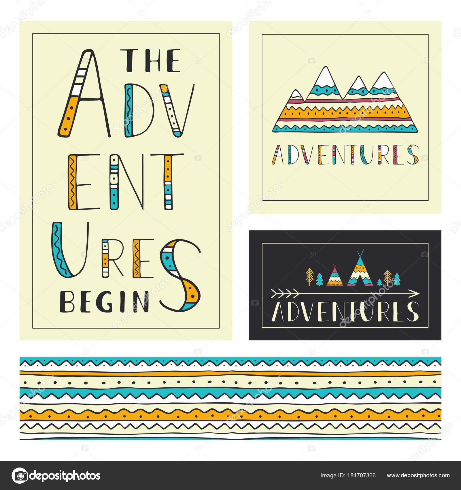 Reihe von stilvollen outdoor Karten Vorlage. Das Abenteuer beginnen ...