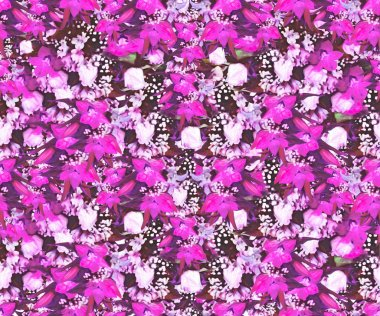 Seamless pattern with roses and orchids