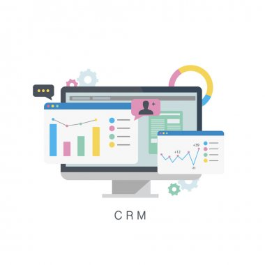 CRM. Customer relationship management.Flat vector illustration