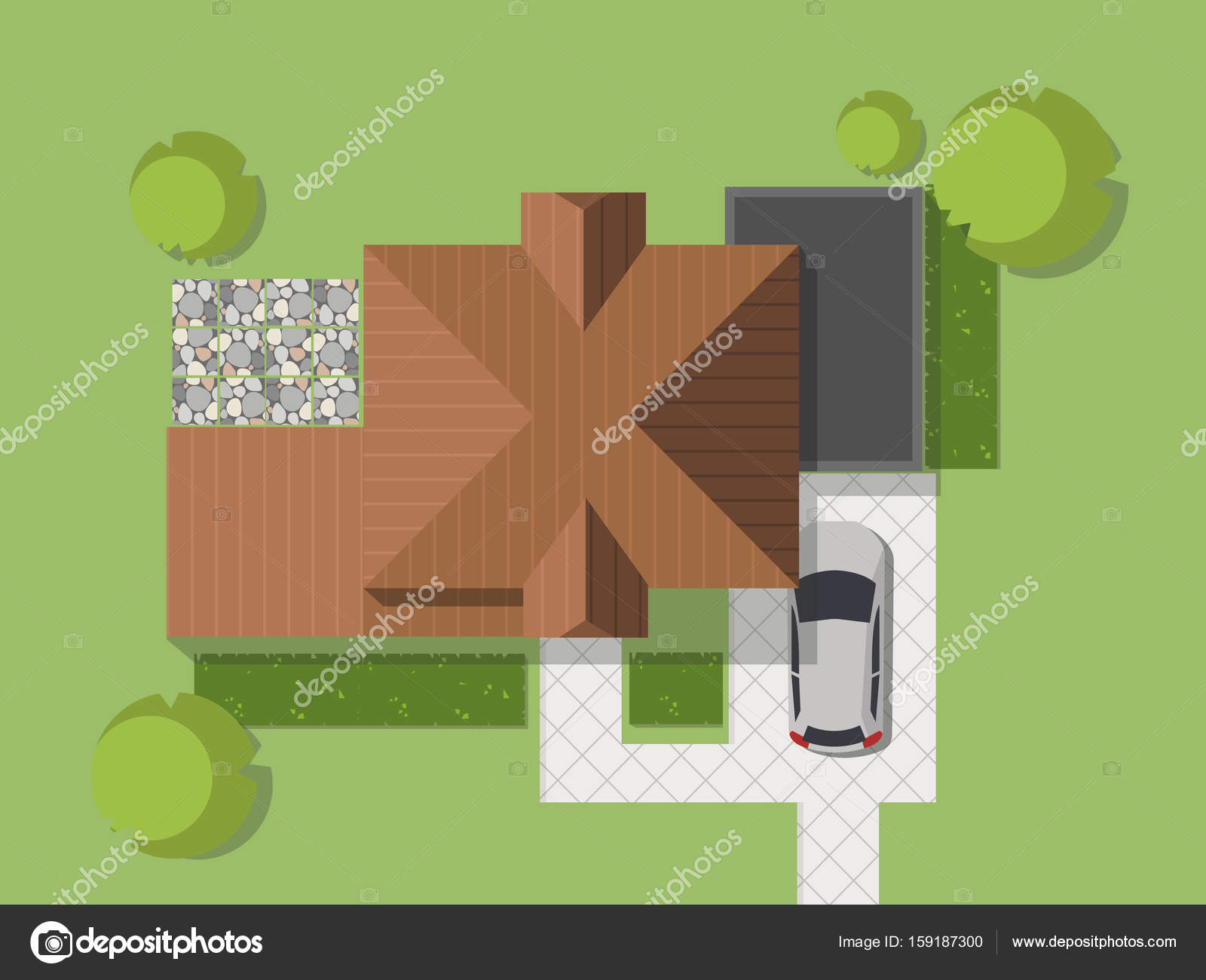 Top view of a country with house courtyard lawn and for See images of my house