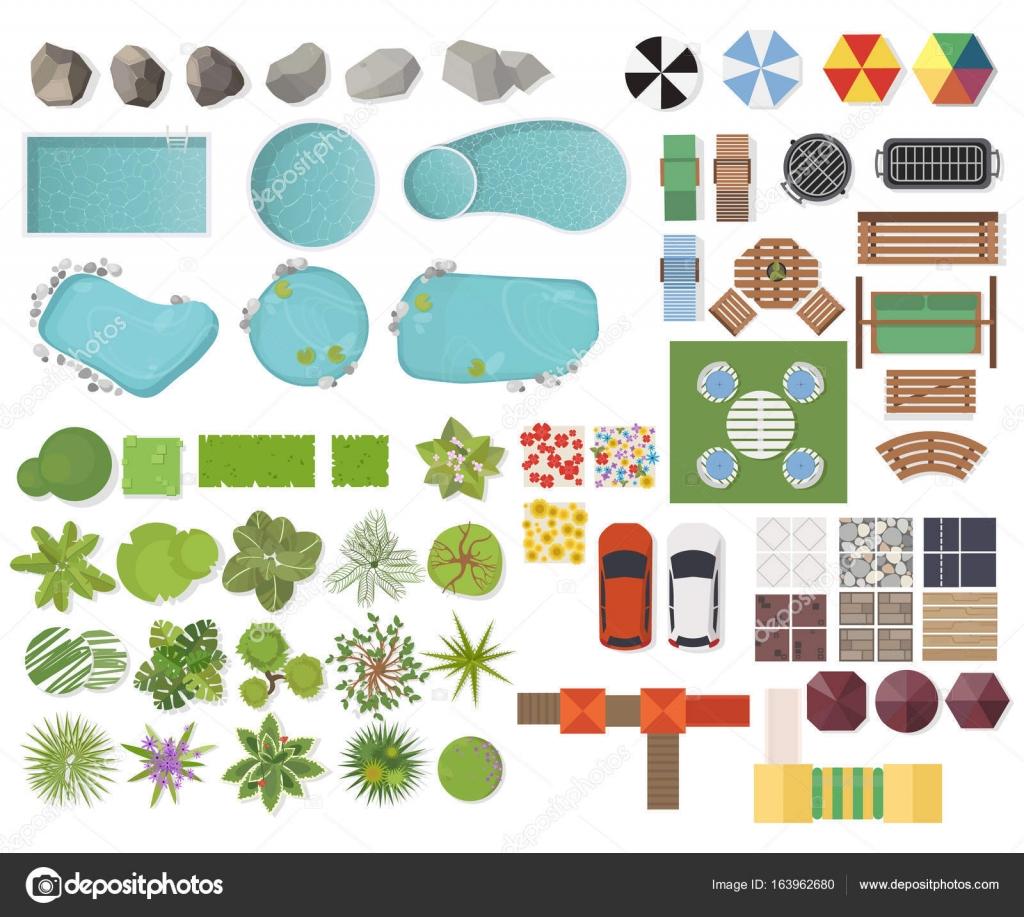 Conjunto de elementos del paisaje la vista superior for Garden design elements