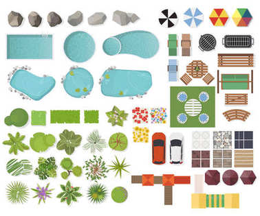 Set Landscape elements, top view. Garden, tree, lake, swimming pools, bench, table.Landscaping symbols, Outdoor furniture set isolated on white