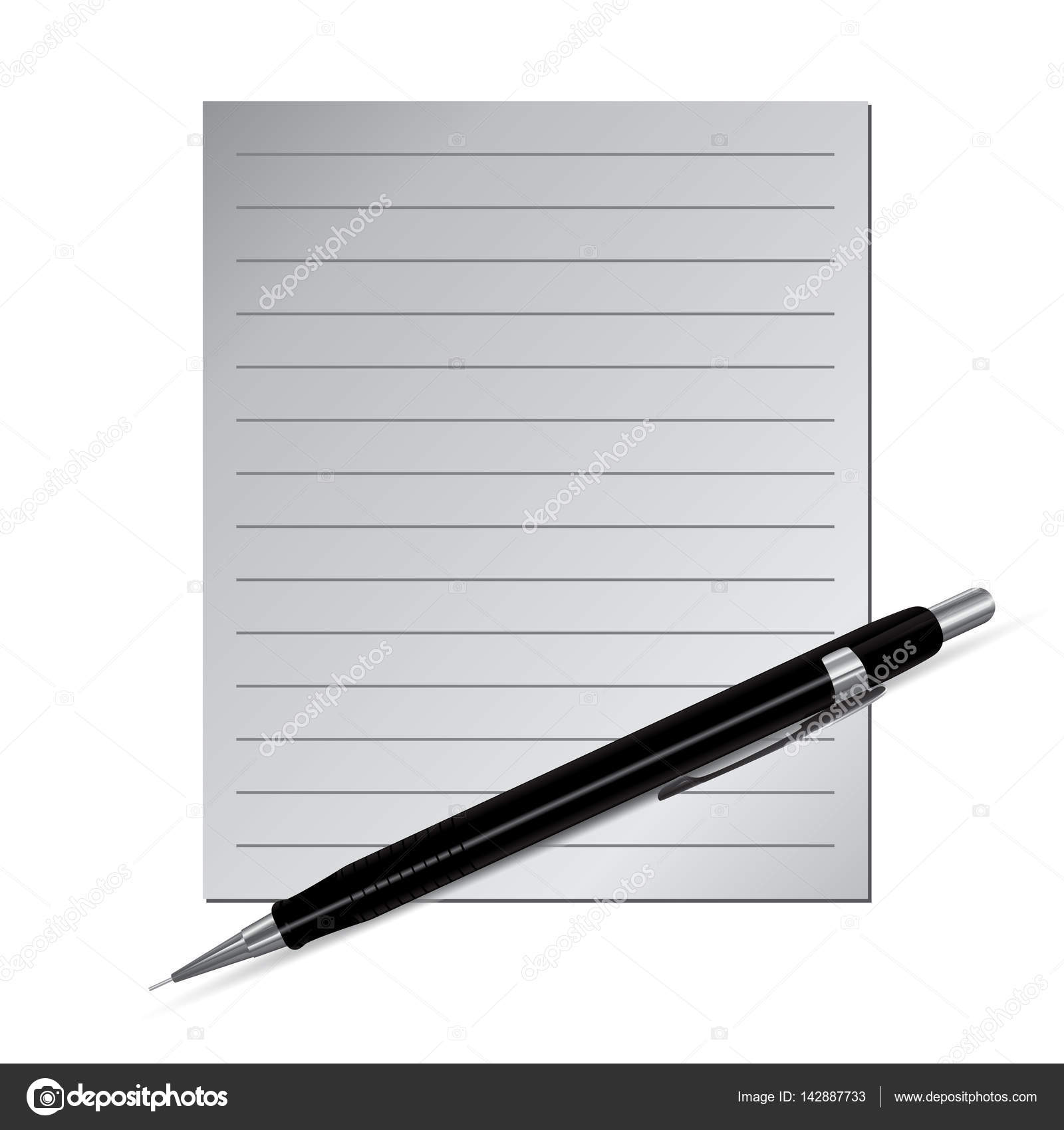 Plantilla vacía de papel rayado con rotulador o lápiz — Vector de ...