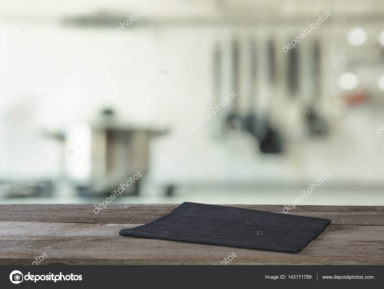 Kitchen Table Top Background blurred and abstract background. empty wooden tabletop and