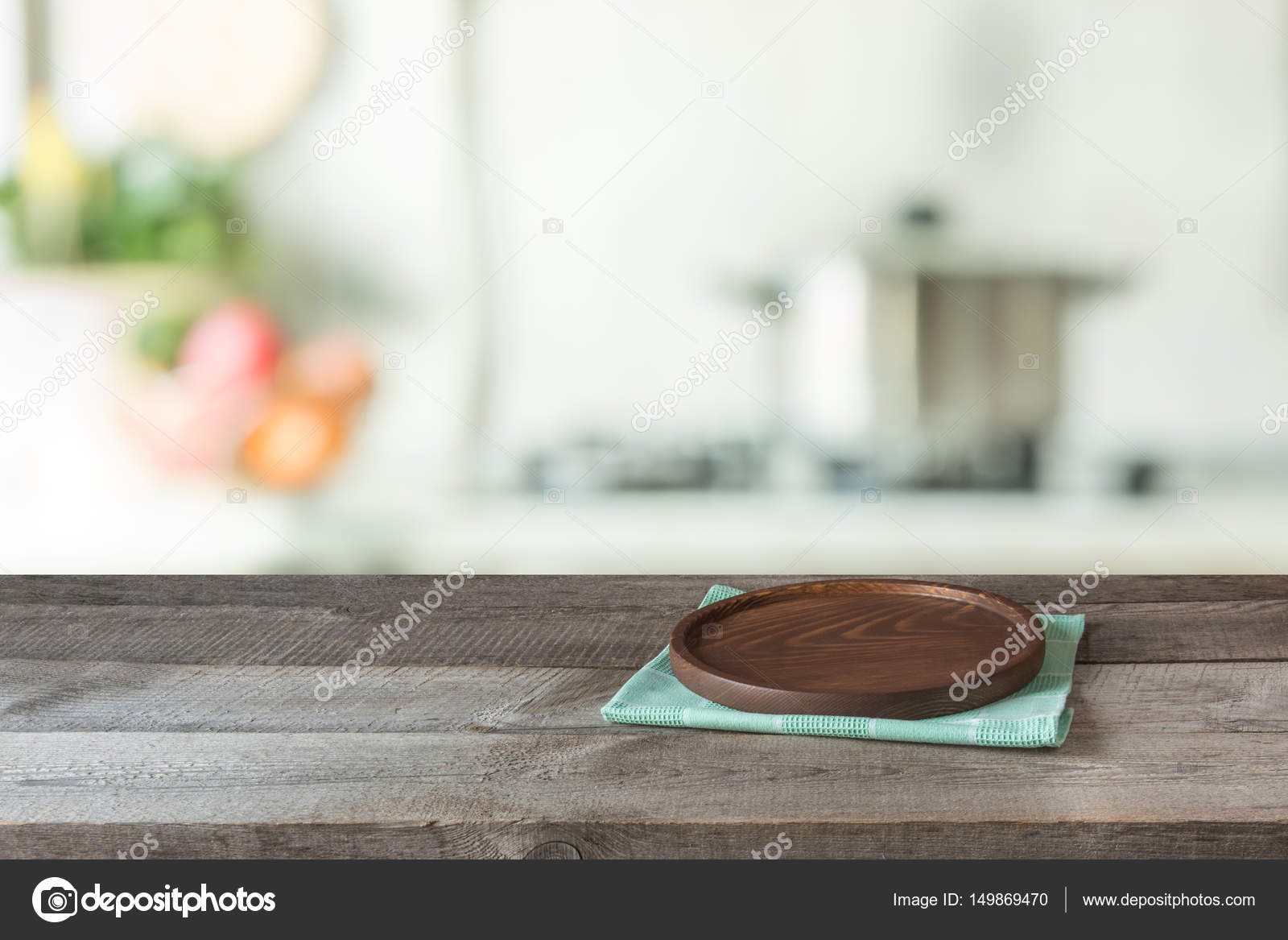 Kitchen Table Top Background blurred and abstract background. empty wooden tabletop with tray