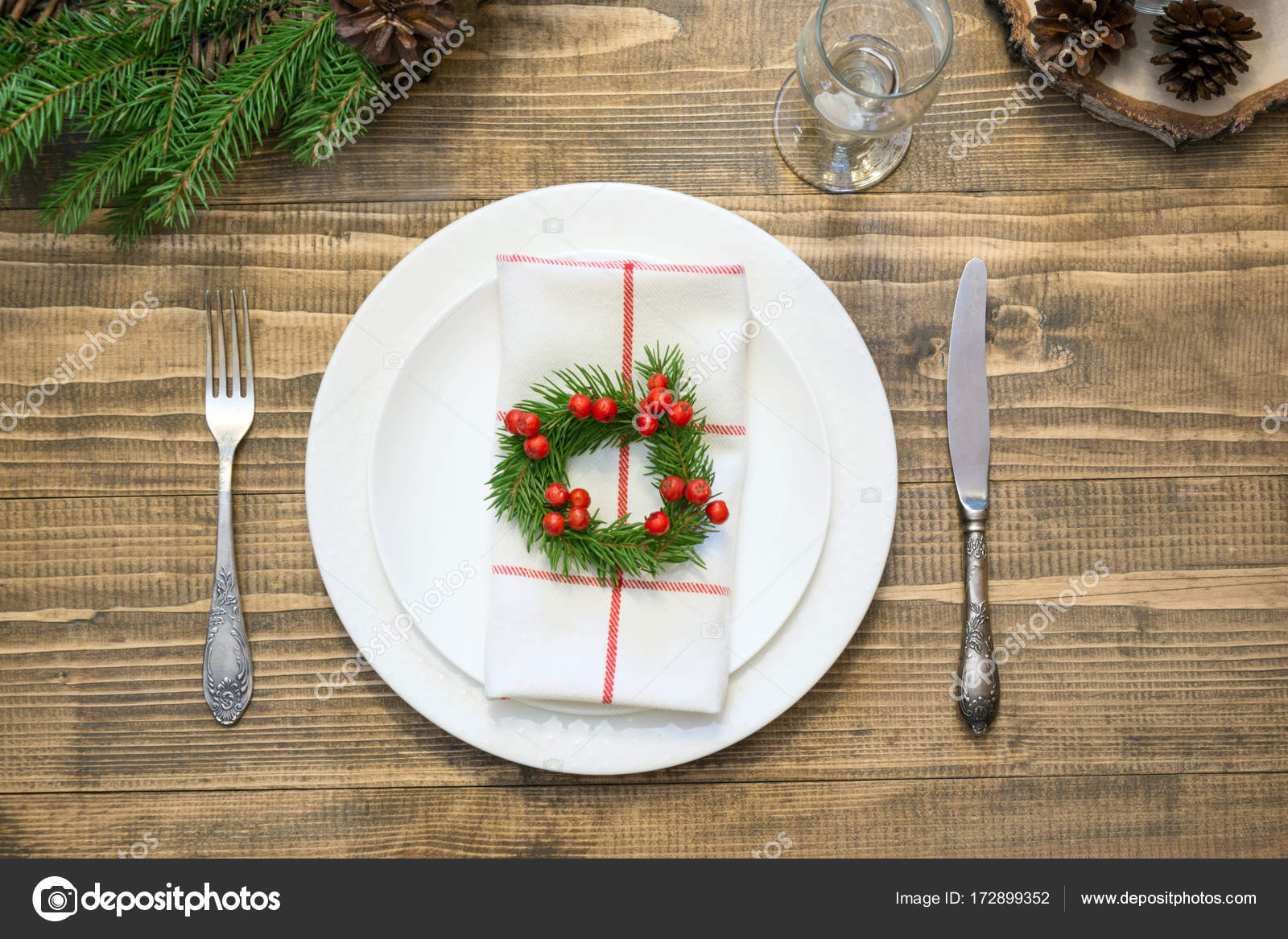 Weihnachten Tischdekoration Mit Vintage Geschirr Besteck Und