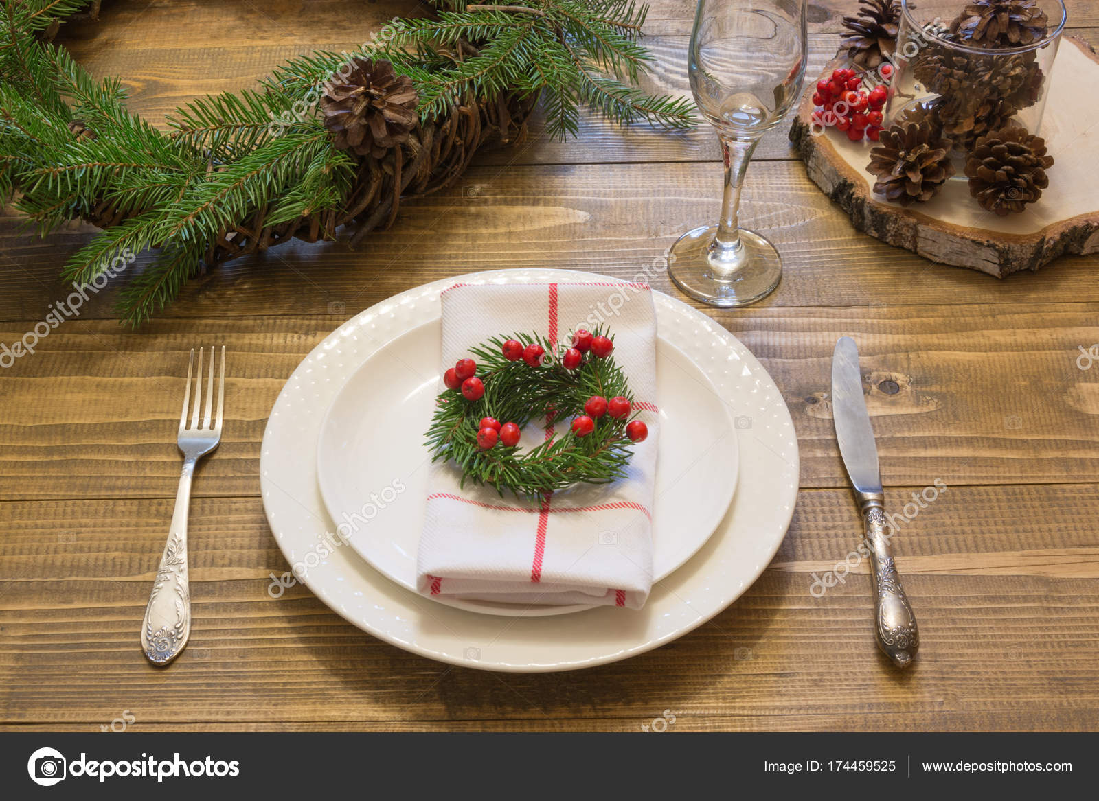 Christmas Place Setting With Vintage Dishware, Silverware And Decorations  On Wooden Board. Christmas Wreath