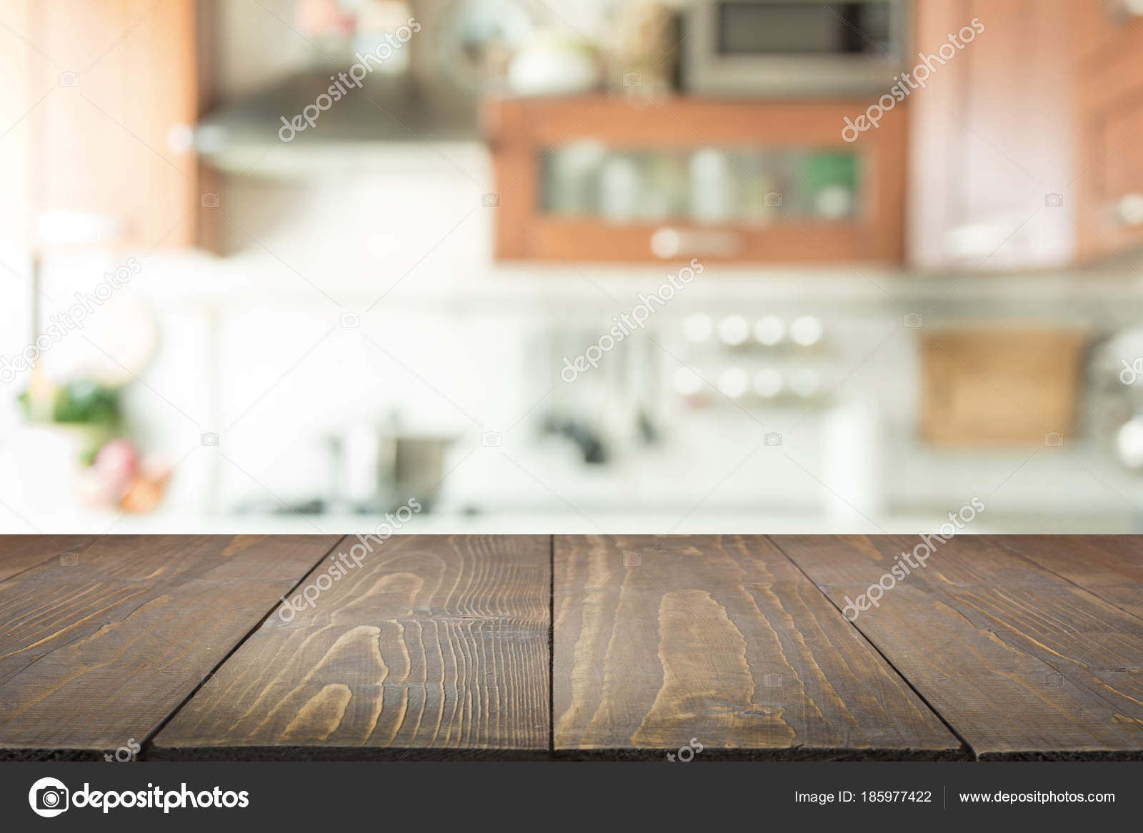 Blurred background. Modern kitchen with tabletop and space for you ...