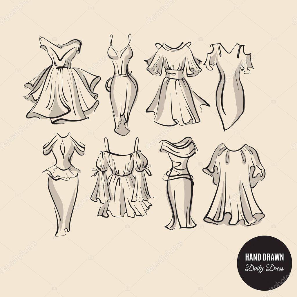 Рисованные платья для женщин