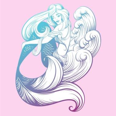 Marine artwork with beautiful  skinny mermaid