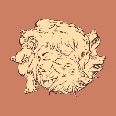 Vector illustration of young beautiful girl with angry wolf's muzzle.