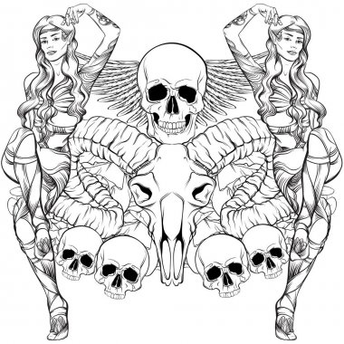 Vector illustration of beautiful elf with ram and human skull wings and flowers