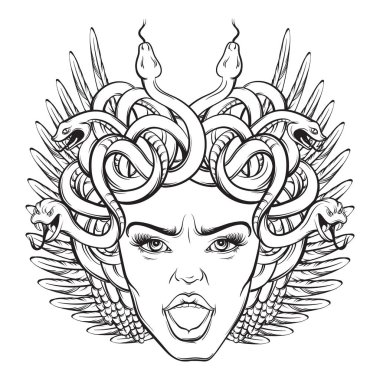 Vector illustration of angry gorgon