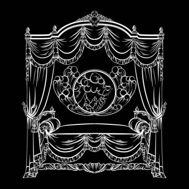 Vector illustration of baroque bed