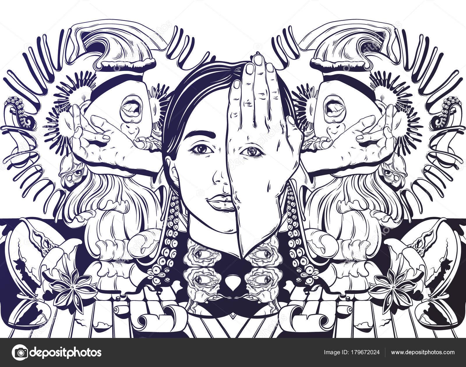 Ilustración Dibujado Mano Vector Con Gritos Chica Tentáculos Rosas ...