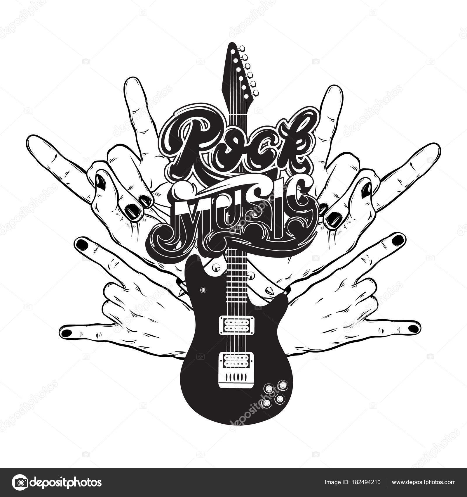 Illustration Vectorielle Dessines Main Guitare Rock Mains Des