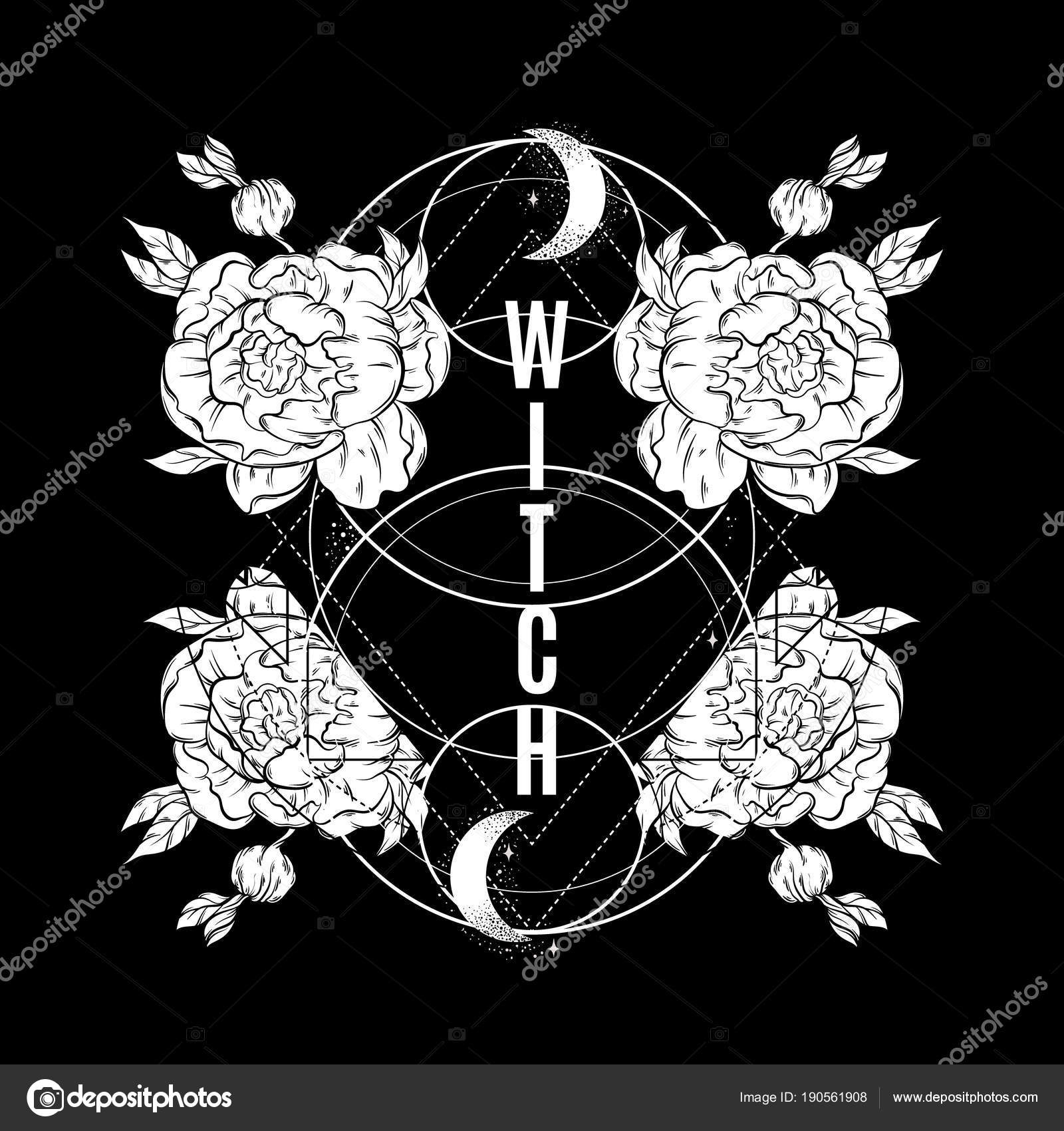 witch vector placard hand drawn flowers moon template card poster