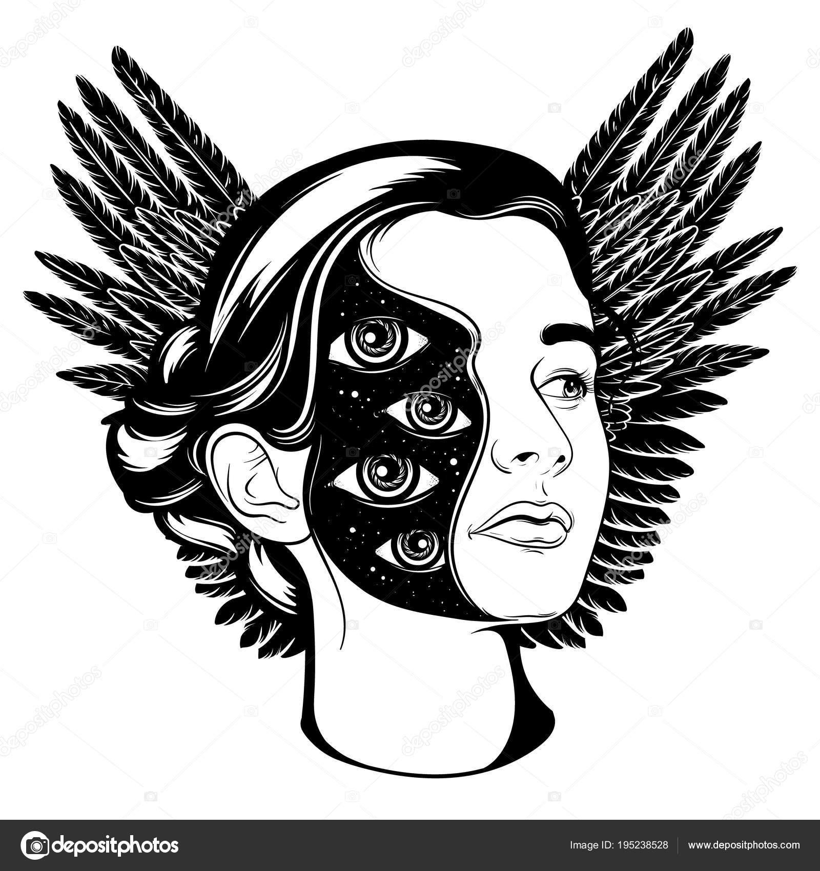 Plantilla De Tatuajes Para Imprimir Mano Vector Dibujado
