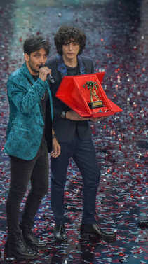 Sanremo Italy, 10 February 2018: Ariston Theater  Ermal Meta and Fabrizio Moro they are the winners at the Italian Song Festival