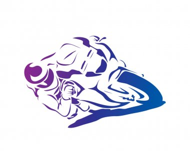 Passionate Motorcycle Racer In Action Logo - Full Speed Cornering
