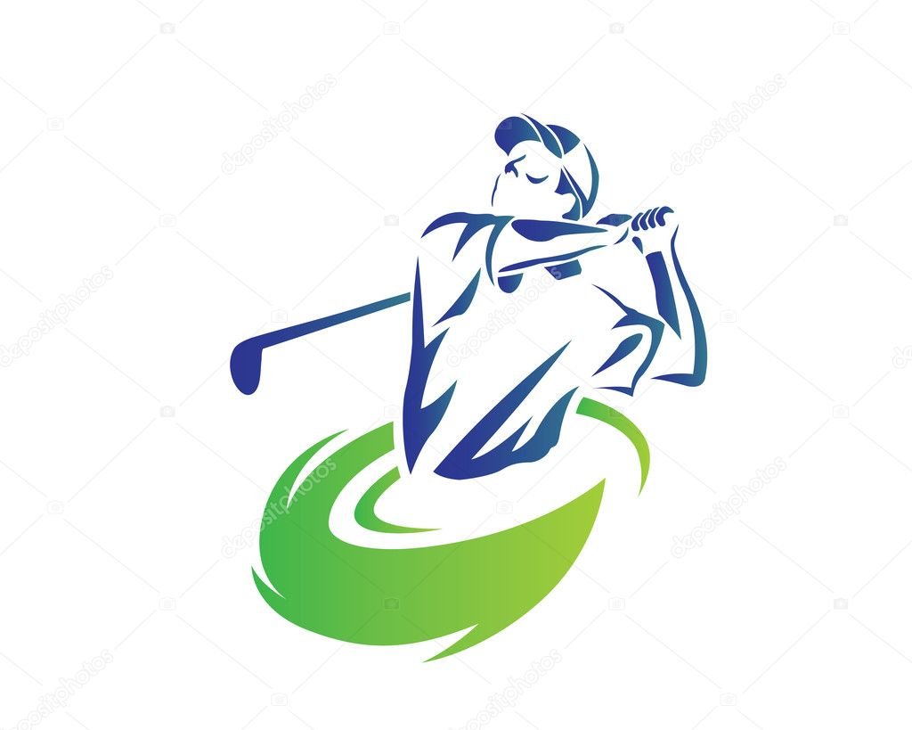 Modern Golf Logo - Flaming Blue Golfer Swing — Stock ...