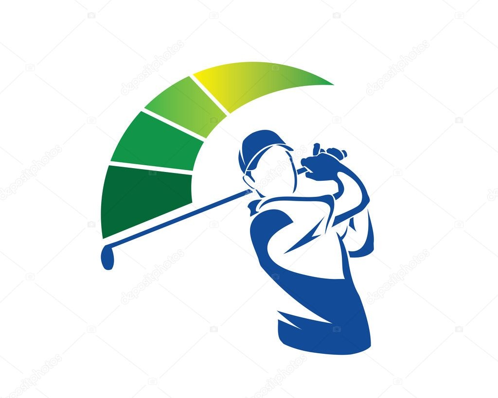 Modern Golf Logo - Maximum Cool Swing Golfer — Stock ...