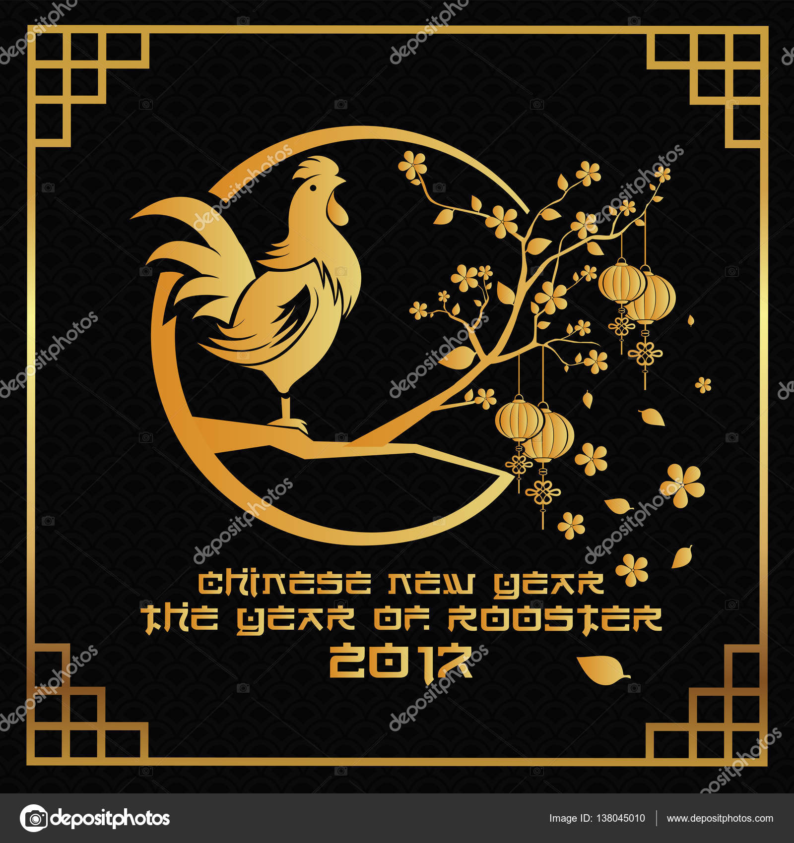 elegant luxury black and gold chinese new year 2017 rooster year card design suitable for