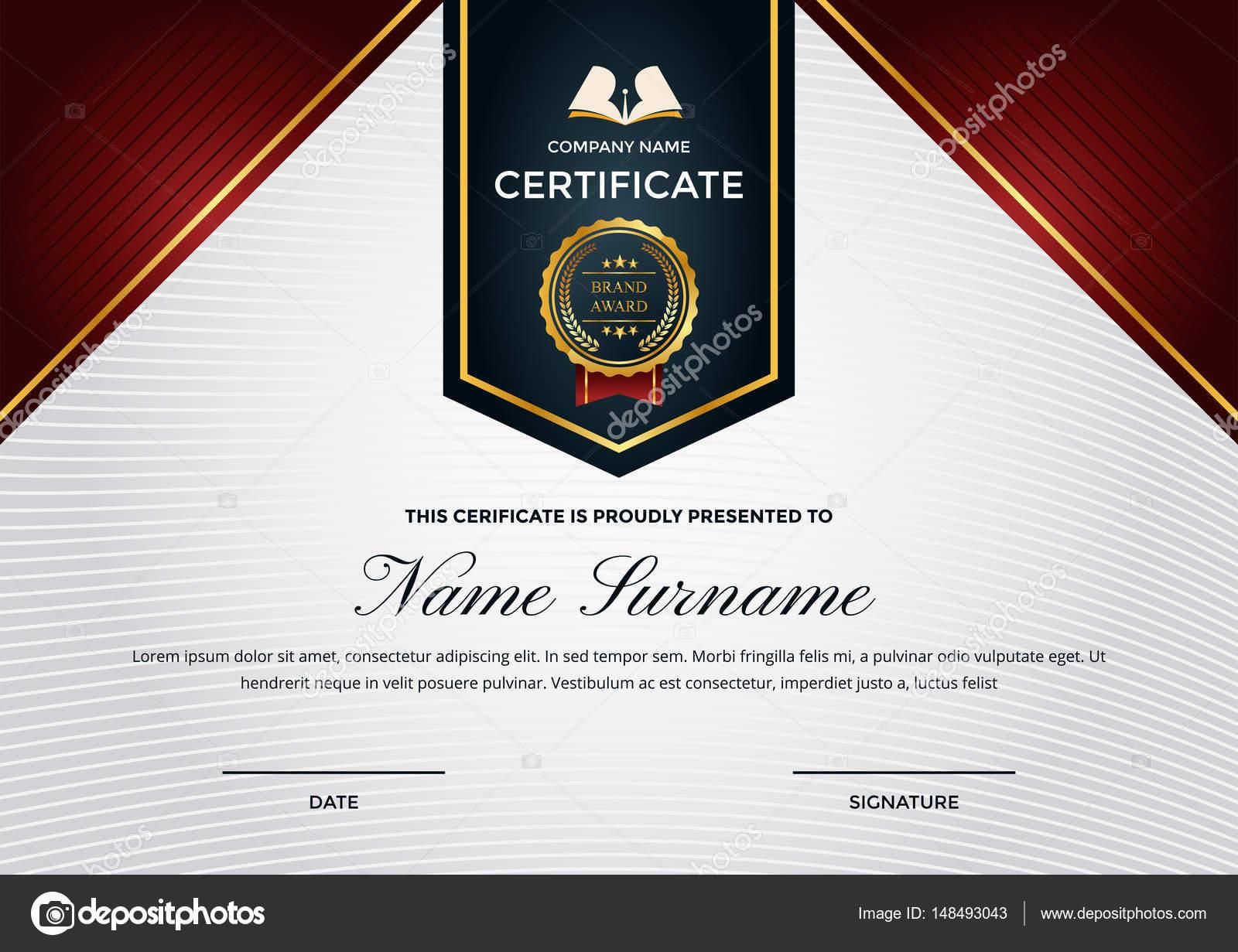 Moderne Premium-Business-Zertifikat von Leistung und Anerkennung ...