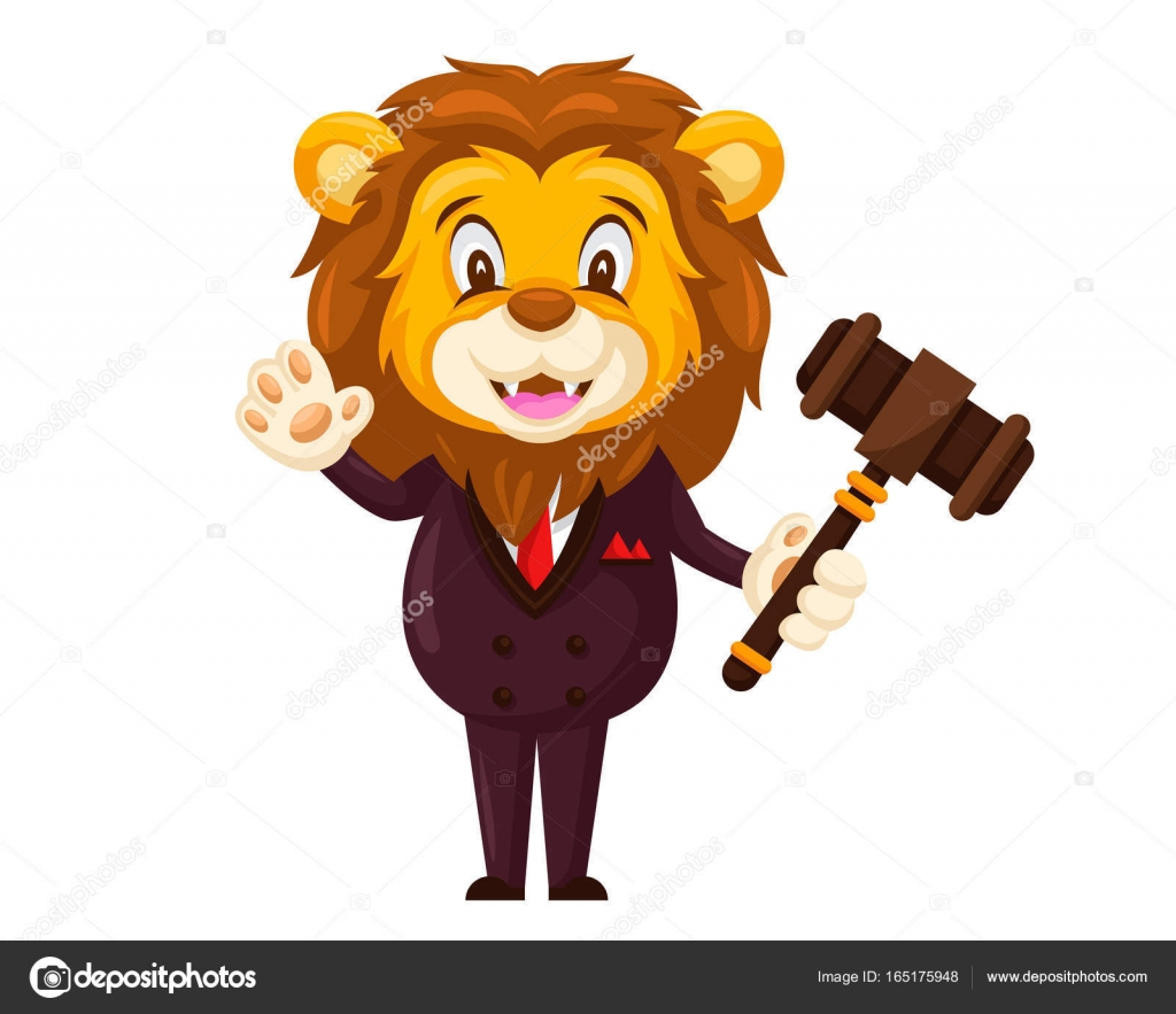 Skvělá aukce Lev Cartoon charakter — Stock Vektor © naulicreative.