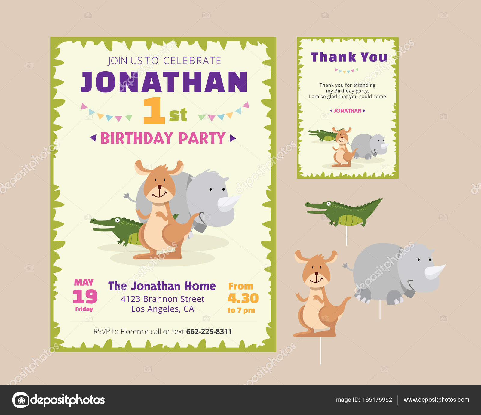 Cute Animal Theme Birthday Party Invitation And Thank You Card ...