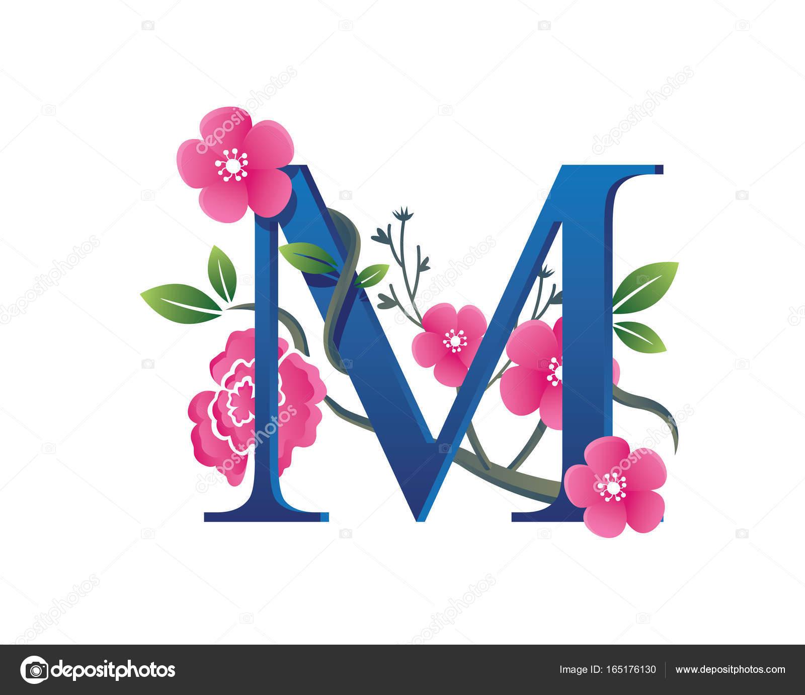 Elegant Floral M Letter Alphabet Logo