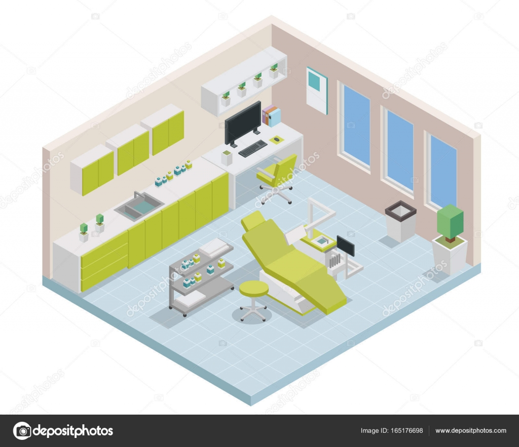 Modern Creative Dental Clinic Office Space Interior Design In Isometric View Vector By Naulicreative Find Similar Images