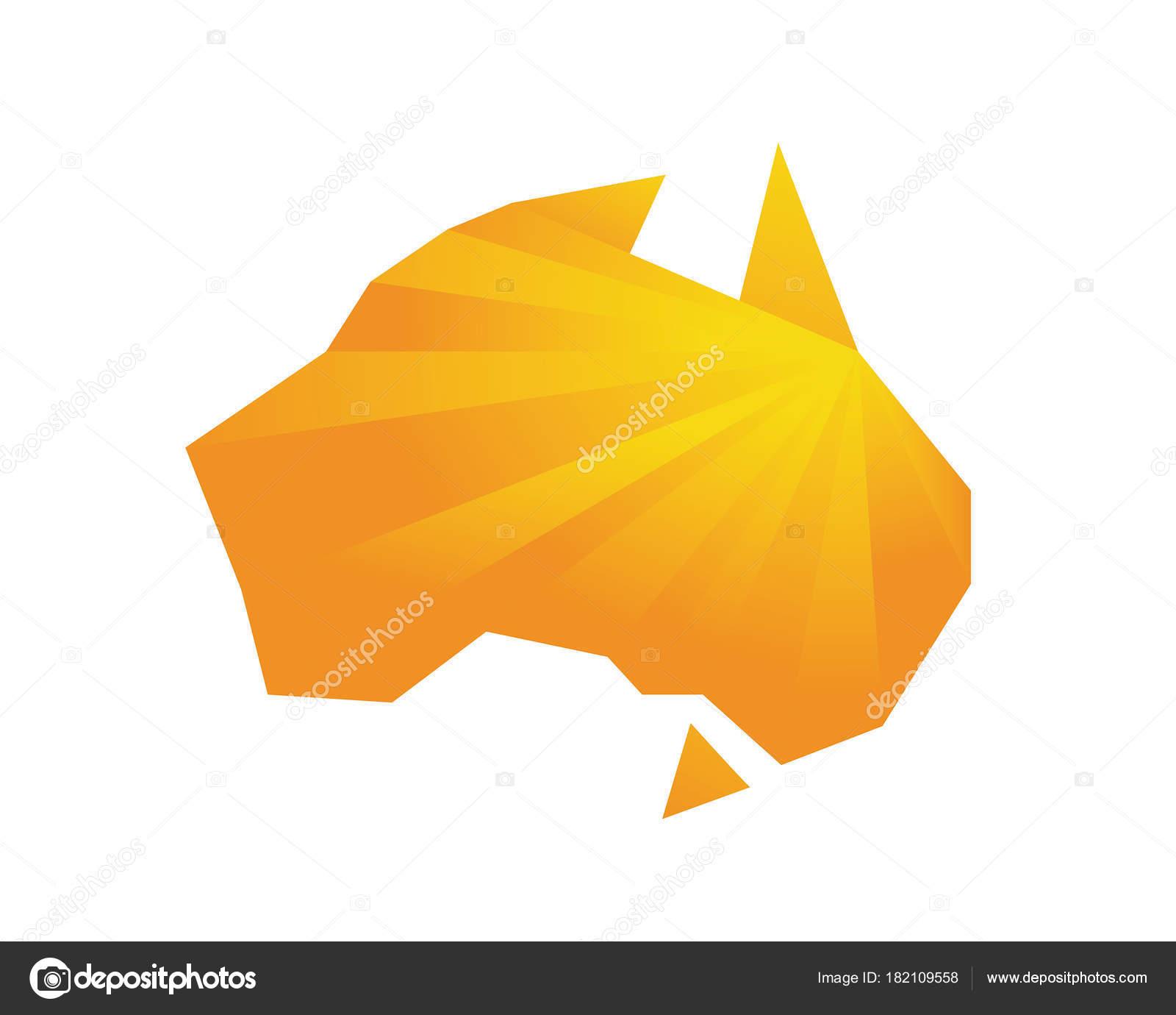 Australia Map Shape.Modern Australia Logo Orange Abstract Poly Shape Australian Map