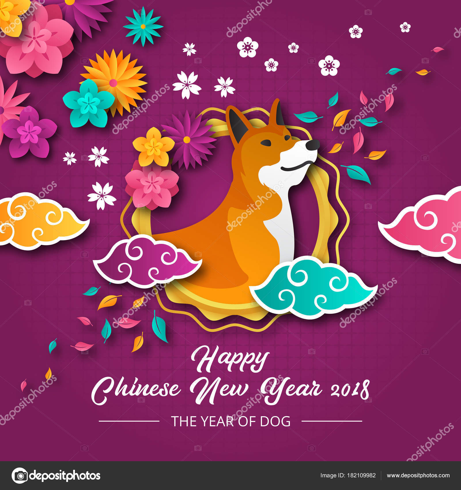 elegant chinese new year 2018 year of dog paper art banner and card design template suitable for social media banner flyer card party invitation and