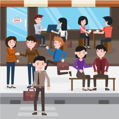 Busy Urban Freelancer In A Cafe Illustration