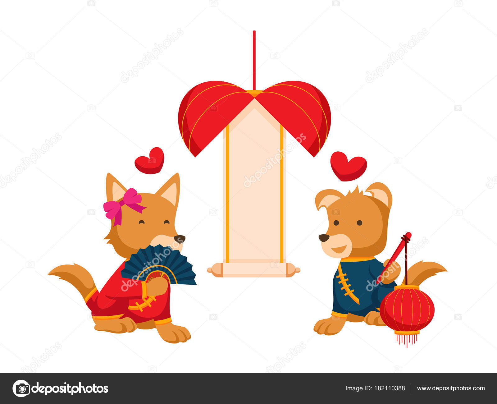 cute chinese new year 2018 dogs couple character set illustration stock vector